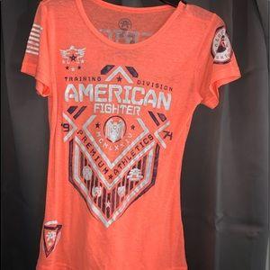 American Fighter T shirt NEON Orange Med